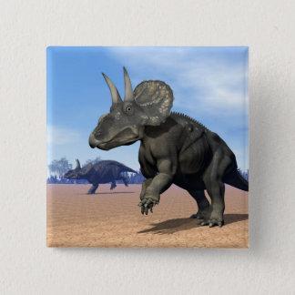 Bóton Quadrado 5.08cm Dinossauros de Diceratops/nedoceratops no deserto