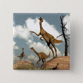 Bóton Quadrado 5.08cm Dinossauros de Gallimimus - 3D rendem