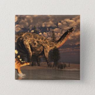 Bóton Quadrado 5.08cm Dinossauros do Dicraeosaurus e do kentrosaurus -