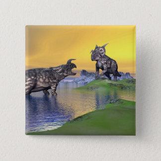 Bóton Quadrado 5.08cm Dinossauros do Einiosaurus pelo por do sol - 3D