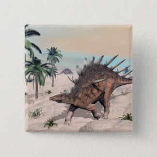 Bóton Quadrado 5.08cm Dinossauros do Kentrosaurus no deserto - 3D rendem
