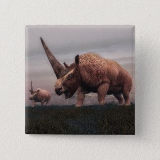 Bóton Quadrado 5.08cm Dinossauros do mamífero de Elasmotherium - 3D