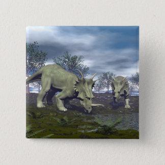 Bóton Quadrado 5.08cm Dinossauros do Styracosaurus que vão molhar - 3D