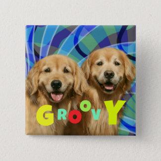 Bóton Quadrado 5.08cm Dois Groovy psicadélicos dos cães retros do golden