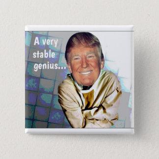 Bóton Quadrado 5.08cm Donald Trump: Um gênio muito estável