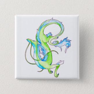 Bóton Quadrado 5.08cm Dragão verde