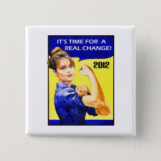 Bóton Quadrado 5.08cm É hora para uma mudança - Sarah Palin
