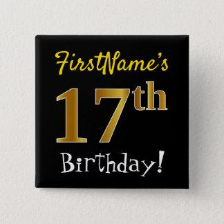 Bóton Quadrado 5.08cm Enegreça, aniversário do ouro do falso 17o, com
