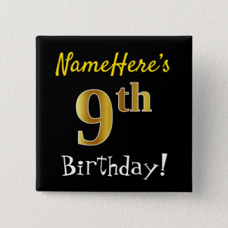 Bóton Quadrado 5.08cm Enegreça, aniversário do ouro do falso 9o, com