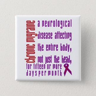 Bóton Quadrado 5.08cm Enxaqueca crônica - botão da doença neurológica