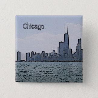 Bóton Quadrado 5.08cm Esboço da skyline lindo de Chicago
