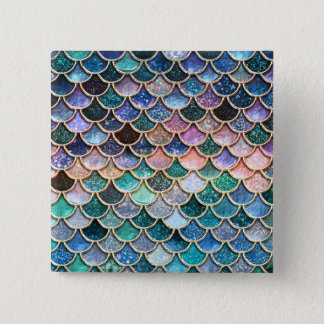 Bóton Quadrado 5.08cm Escalas multicoloridos luxuosas da sereia do