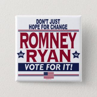 Bóton Quadrado 5.08cm Esperança real 2012 de Romney Ryan