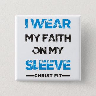 Bóton Quadrado 5.08cm esquadre, mim vestem meu botão do pino da fé