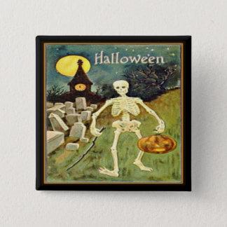Bóton Quadrado 5.08cm Esqueleto no botão do Dia das Bruxas do vintage do