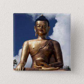 Bóton Quadrado 5.08cm Estátua de assento de Buddha