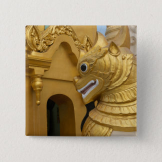 Bóton Quadrado 5.08cm Estátua dourada do leão no templo