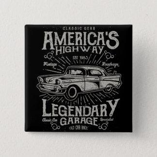 Bóton Quadrado 5.08cm Estrada do carro | Hotrod americano clássico do