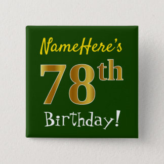Bóton Quadrado 5.08cm Esverdeie, aniversário do ouro do falso 78th, com