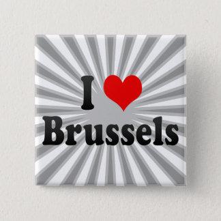 Bóton Quadrado 5.08cm Eu amo Bruxelas, Bélgica