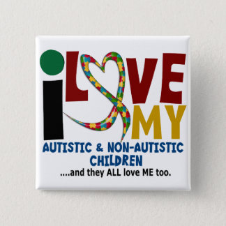 Bóton Quadrado 5.08cm Eu amo meu AUTISMO autístico & de NonAutistic das