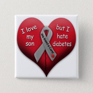 Bóton Quadrado 5.08cm Eu amo meu filho mas eu deio o diabetes