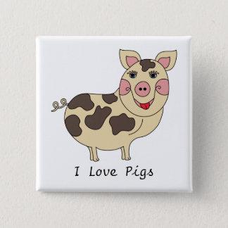 Bóton Quadrado 5.08cm Eu amo os porcos lunáticos