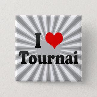Bóton Quadrado 5.08cm Eu amo Tournai, Bélgica