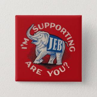 Bóton Quadrado 5.08cm Eu estou apoiando Jeb