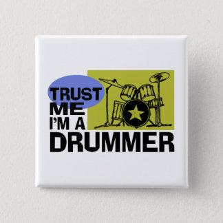 Bóton Quadrado 5.08cm Eu sou um botão do baterista