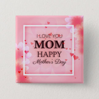 Bóton Quadrado 5.08cm Eu te amo botão do Pin do dia das mães da mamã