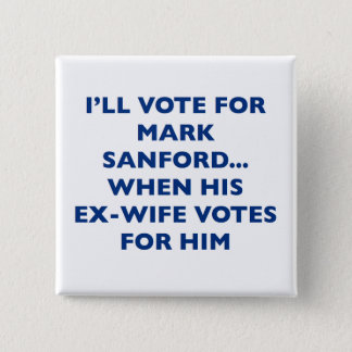 Bóton Quadrado 5.08cm Eu votarei para a marca Sanford