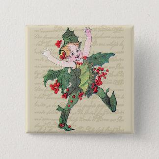 Bóton Quadrado 5.08cm Fada do Natal do azevinho