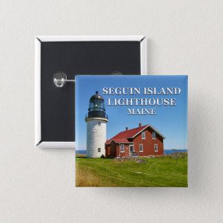 Bóton Quadrado 5.08cm Farol da ilha de Seguin, botão de Maine