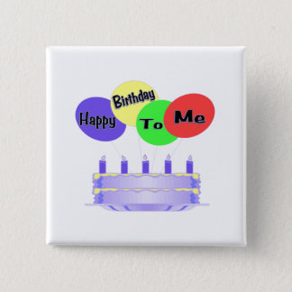 Bóton Quadrado 5.08cm Feliz aniversario a mim bolo & balões