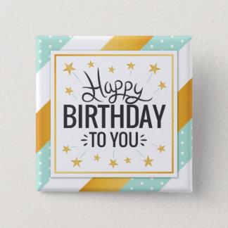 Bóton Quadrado 5.08cm Feliz aniversário listras minty do ouro estrelado