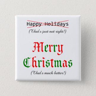 Bóton Quadrado 5.08cm Feliz Natal