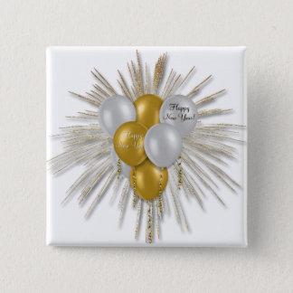 Bóton Quadrado 5.08cm Feriados - o feliz ano novo Balloons o branco