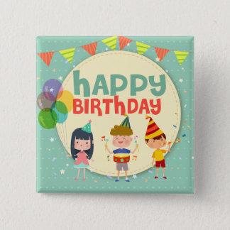 Bóton Quadrado 5.08cm Festa de aniversário feliz da ilustração lunática