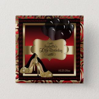 Bóton Quadrado 5.08cm Festa de aniversário | vermelho e ouro