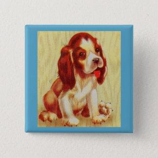 Bóton Quadrado 5.08cm filhote de cachorro pequeno bonito do lebreiro