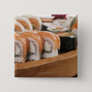 Bóton Quadrado 5.08cm Fim-acima do sushi em uma bandeja