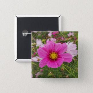 Bóton Quadrado 5.08cm Flor cor-de-rosa bonito do cosmos