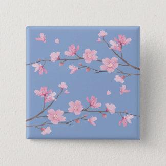 Bóton Quadrado 5.08cm Flor de cerejeira - azul da serenidade