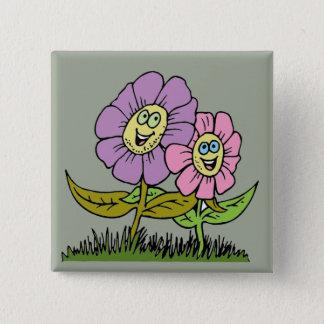Bóton Quadrado 5.08cm Flores do smiley