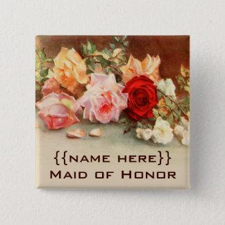 Bóton Quadrado 5.08cm Flores dos rosas da antiguidade do crachá do