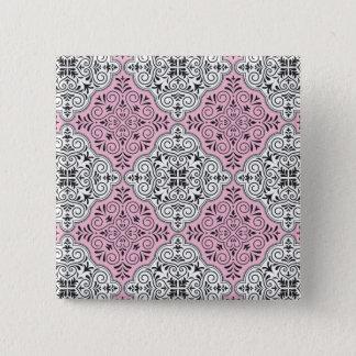 Bóton Quadrado 5.08cm Flourish Rococo cor-de-rosa do teste padrão