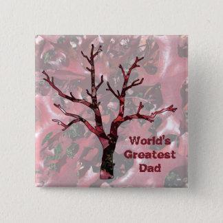 Bóton Quadrado 5.08cm Folhas do carvalho vermelho do pai do mundo as