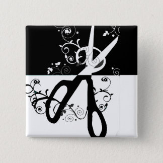 Bóton Quadrado 5.08cm Forma branca preta na moda chique das tesouras