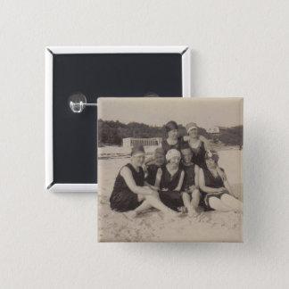 Bóton Quadrado 5.08cm Fotografia 1920 do vintage do grupo de praia